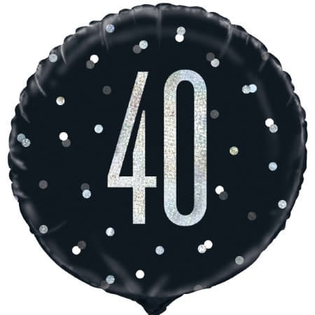 Black Glitz Age 40 Balloon I Modern 40th Birthday Decorations I My Dream Party Shop UK