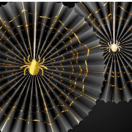 Black and Gold Spider Fans I Modern Halloween Decorations I My Dream Party Shop UK