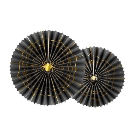 Black Halloween Rosette Fans I Modern Halloween Party Decorations I My Dream Party Shop UK