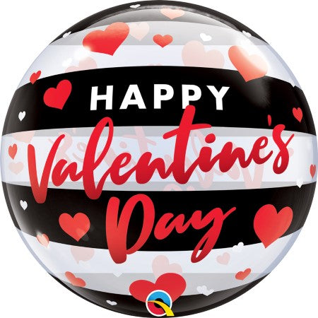 Red, White and Black Happy Valentines Day Bubble Balloon I Helium Collection Ruislip