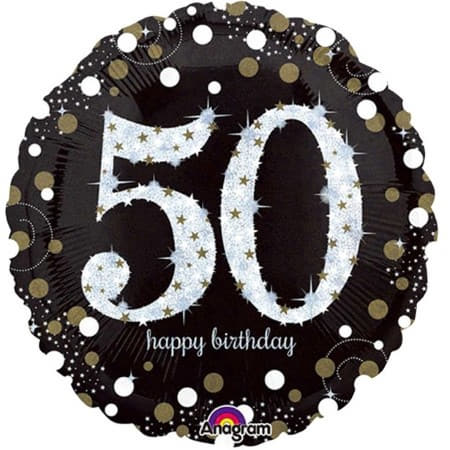 Black and Gold 50th Birthday Balloon I Modern 50th Birthday Party I My Dream Party Shop UK