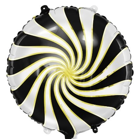 Black Candy Swirl Balloon I Patterned Foil Balloons I My Dream Party Shop