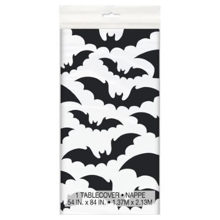 Black and White Bats Tablecover I Modern Halloween Party I My Dream Party Shop UK