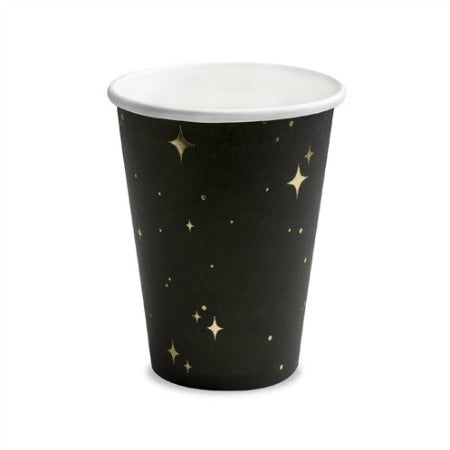 Black Paper Cups with Gold Stars I My Dream Party Shop I UK