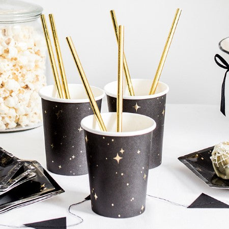 Black Paper Cups with Gold Stars I Black & Gold Tableware I My Dream Party Shop I UK