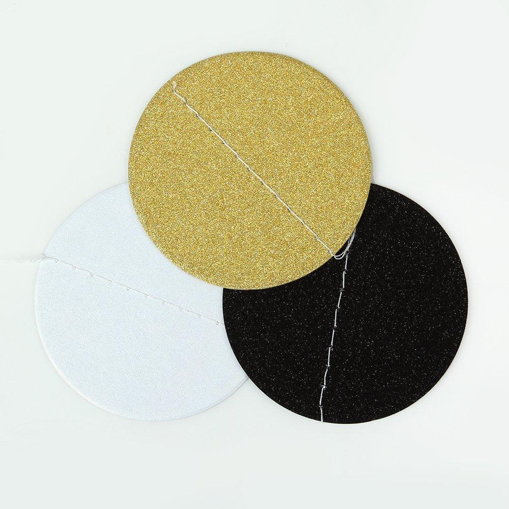 Bunting with Black, White and Gold Circles Close Up of One Circle I UK
