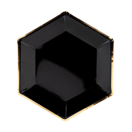 Large Black Hexagonal Paper Plates with Gold Foil Rim - My Dream Party Shop
