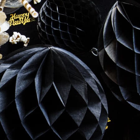Black Honeycomb Ball I Modern Black Decorations I My Dream Party Shop I UK