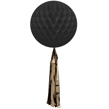 Black Honeycomb Ball with Gold Tassel I Modern Party Decorations I My Dream Party Shop I UK