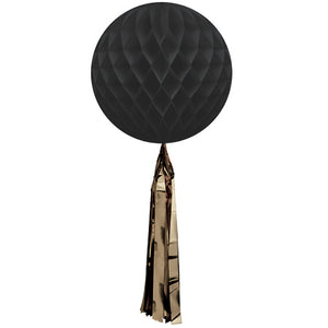 Large 35cm Black Honeycomb Ball with Gold Maylor Tassel - My Dream Party Shop