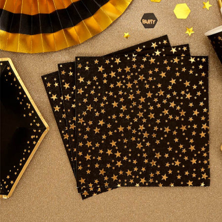 Glitz and Glamour Black Napkins with Gold Foil Stars - My Dream Party Shop