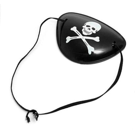 Black Pirate Eye Patch with Skull and Crossbones I Pirate Party Supplies I UK