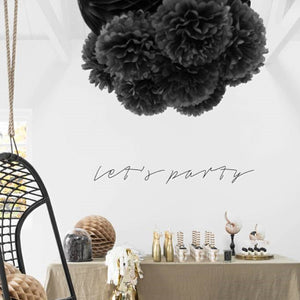 Set of Two Black Pom Poms Party Decorations - My Dream Party Shop