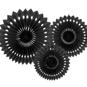 Black Rosette Fans Set of Three I My Dream Party Shop I UK