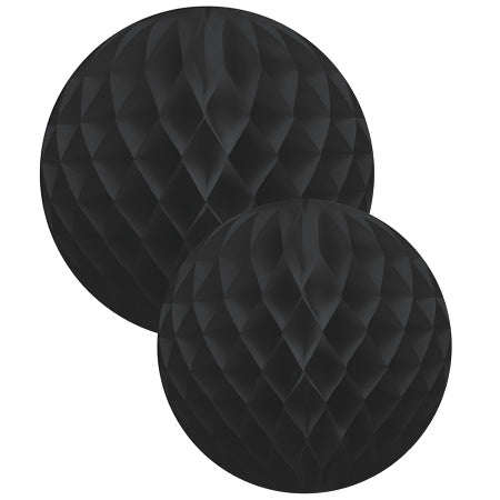 Black Honeycomb Balls Set of Two I Tissue Decorations I My Dream Party Shop I UK