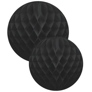 Black Honeycomb Balls Set of Two - 30cm and 35cm - My Dream Party Shop