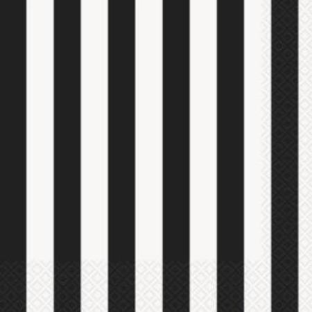 Black and White Striped Napkins - 16 pack - My Dream Party Shop