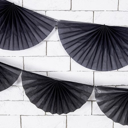 Black Tissue Rosette Fan Bunting I My Dream Party Shop I UK