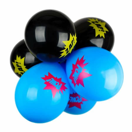 Black and Blue Retro Super Balloons With the Words Pow and Zap I Superhero Party Supplies UK