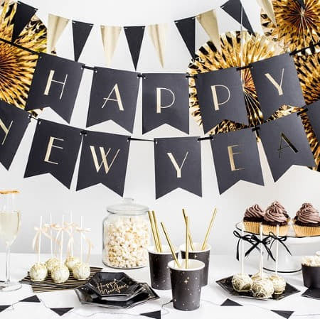 Mini Black and Gold Bunting I Modern New Year's Eve Decorations I My Dream Party Shop I UK