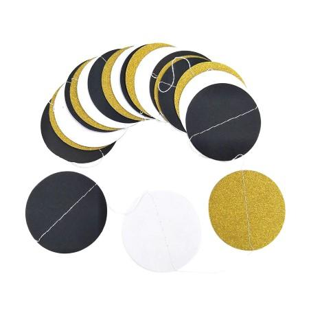 Bunting with Black, White and Gold Circles Close Up I My Dream Party Shop I UK