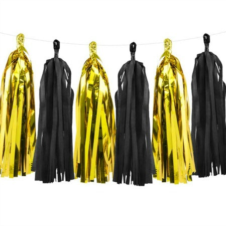 Black and Gold Foil Tassel Garland Decoration - My Dream Party Shop