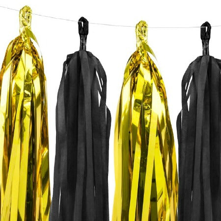 Black and Gold 12 Tassel Garland Decoration - My Dream Party Shop