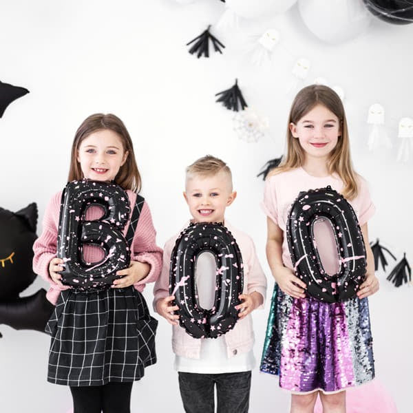 Pink and Black Boo Halloween Balloons I Modern Halloween Party Decorations I My Dream Party Shop UK
