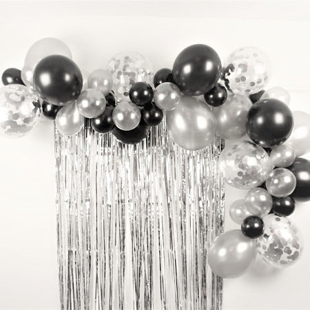 Black and Silver Balloon Garland Decoration Kit I Balloon Garlands and Clouds My Dream Party Shop I UK
