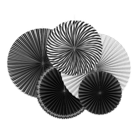 Black and White Rosette Fans, Set of 5 I Black and White Decorations I My Dream Party Shop I UK