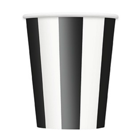 Black and White Striped Paper Cups 6 Pack - My Dream Party Shop