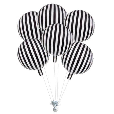 Black and White Striped Foil Balloon I Black and White Party Supplies I My Dream Party Shop UK
