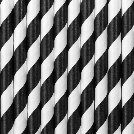 Black and White Striped Paper Drinking Straws I My Dream Party Shop I UK