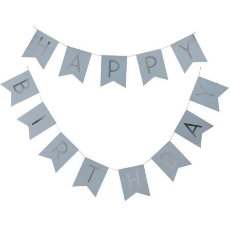 Blue and Silver Happy Birthday Bunting I Modern Blue Party Decorations I UK