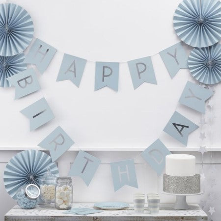 Blue and Silver Happy Birthday Garland I Modern Blue Party Decorations I UK