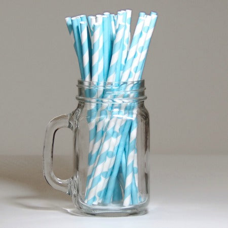 Blue & White Striped, Polka Dot & Plain Paper Straws I My Dream Party Shop I UK