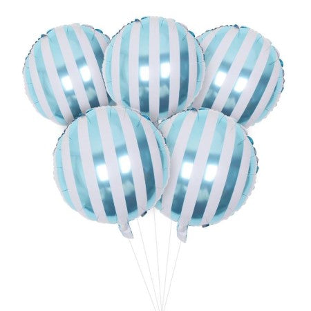 Candy Striped Blue Foil Balloons I Modern Balloons I My Dream Party Shop I UK