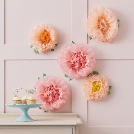 Peach and Pink Tissue Paper Flower Decorations I Pink Decorations I My Dream Party Shop UK