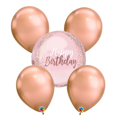Blush and Rose Gold Happy Birthday Balloon Bouquet I Helium Balloons Ruislip