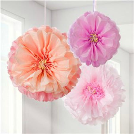 Blush and Pink Flower Tissue Pom Pom Decorations I My Dream Party Shop I UK