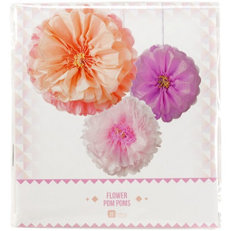 Blush and Pink Flower Pom Pom Decorations I My Dream Party Shop I UK