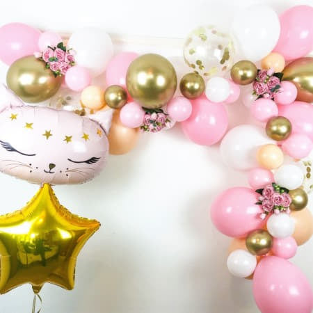 Blush, Pink, White and Chrome Gold Balloon Garland Kit I Modern Party Decorations I My Dream Party Shop UK