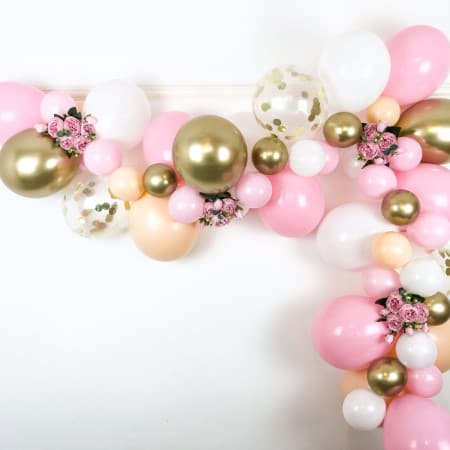 Blush, Pink, White and Chrome Gold Balloon Garland Kit I Balloon Cloud Kits I My Dream Party Shop UK
