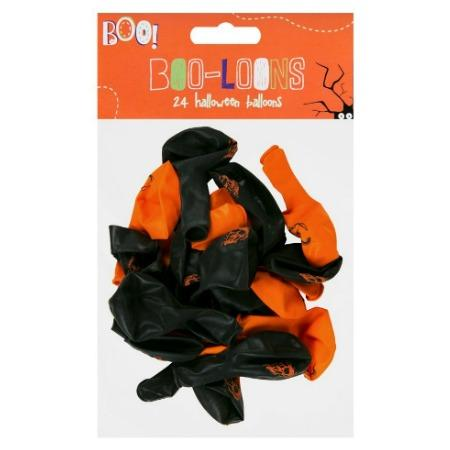 Pack of 24 Black and Orange Halloween Balloons I UK