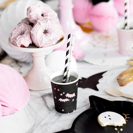Boo Pink and Black Halloween Cups I Modern Halloween Tableware I My Dream Party Shop I UK