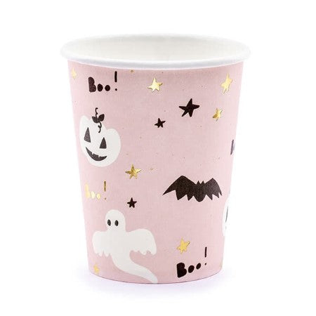 Boo Pink and Black Halloween Cups I Cool Halloween Party Supplies I My Dream Party Shop I UK