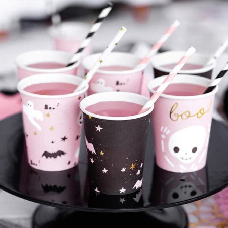 Boo Pink and Black Halloween Cups I Modern Halloween Party I My Dream Party Shop I UK