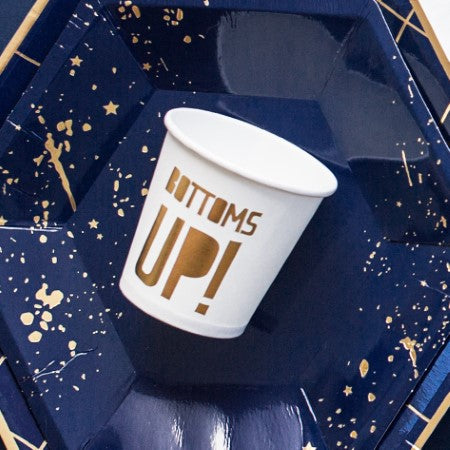 """Bottoms Up"" White Party Cocktail Cups with Gold Foil Inscription I New Year's Eve or Hen Party I PartyMy Dream Party Shop I UK"