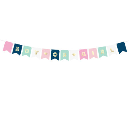 Pink, Blue and White Boy or Girl Baby Shower Garland I Gender Reveal Party I UK