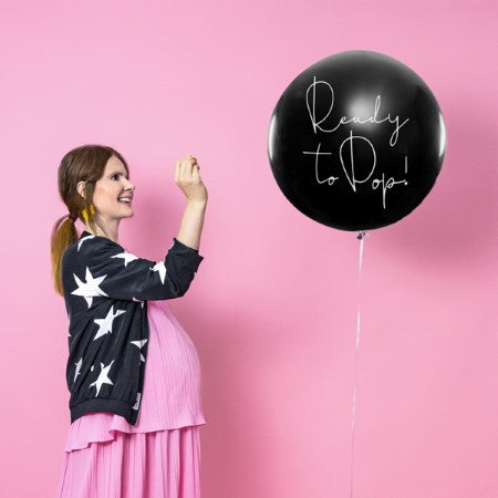 "Black Gender Reveal Balloon Girl ""Ready to Pop"" I My Dream Party Shop I UK"